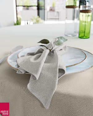 Tafellaken + servetten - linnenlook naturel