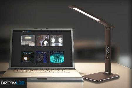 Led-bureaulamp bruine lederlook